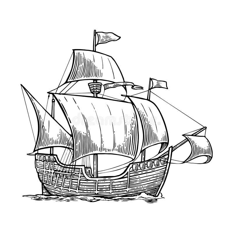 Seglingskepp som svävar på havsvågorna Caravel Santa Maria med Columbus Hand dragen designbeståndsdel Tappningvektor royaltyfri illustrationer