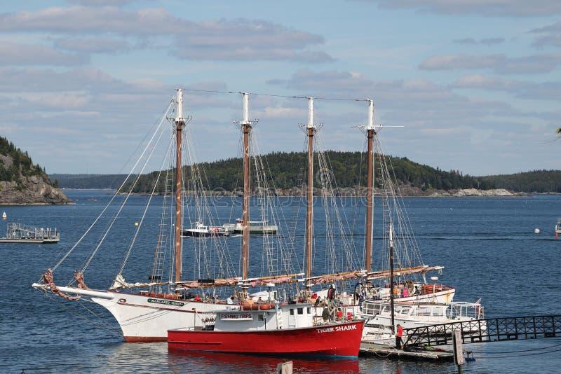 Seglingskonare, fiskebåt, ö royaltyfria foton