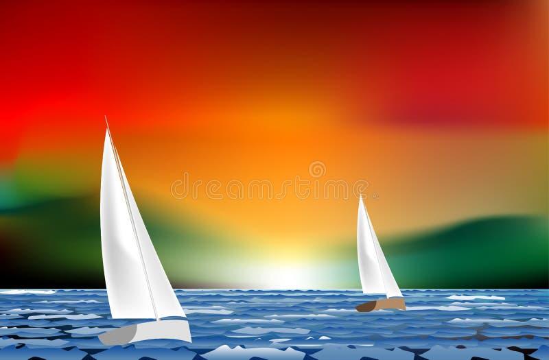 seglingsolnedgång vektor illustrationer