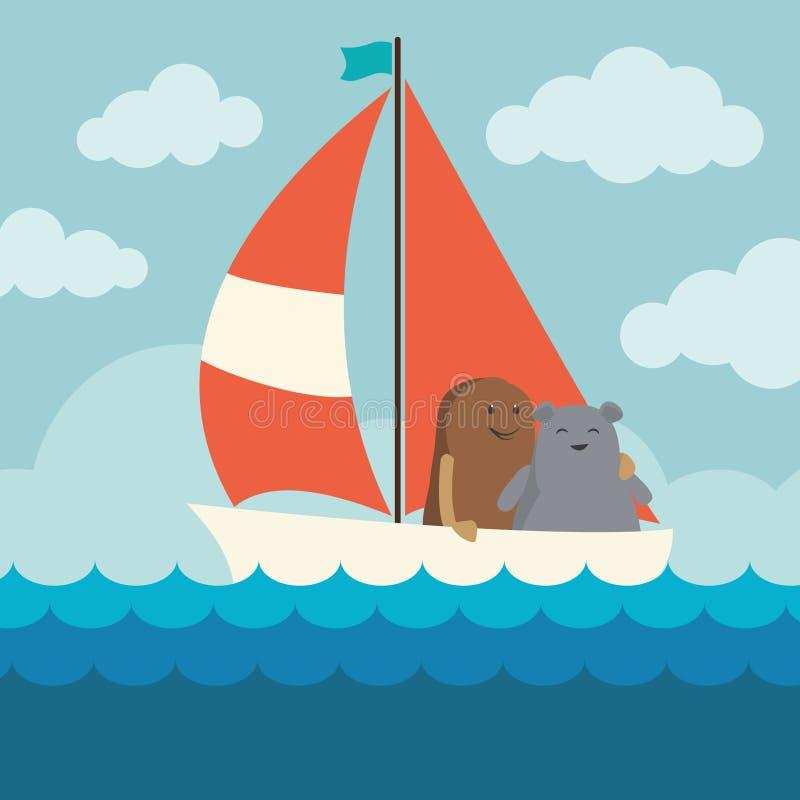 Seglingtecknad filmdiagram stock illustrationer