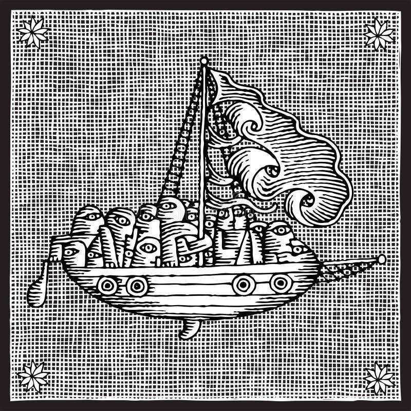 seglingträsnitt stock illustrationer