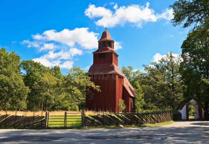 Seglora Church in Skansen stock photos