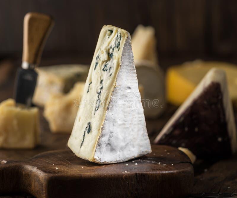 Segment błękitny ser lub Cambozola ser na drewnianej desce Różni sery przy tłem zdjęcie stock