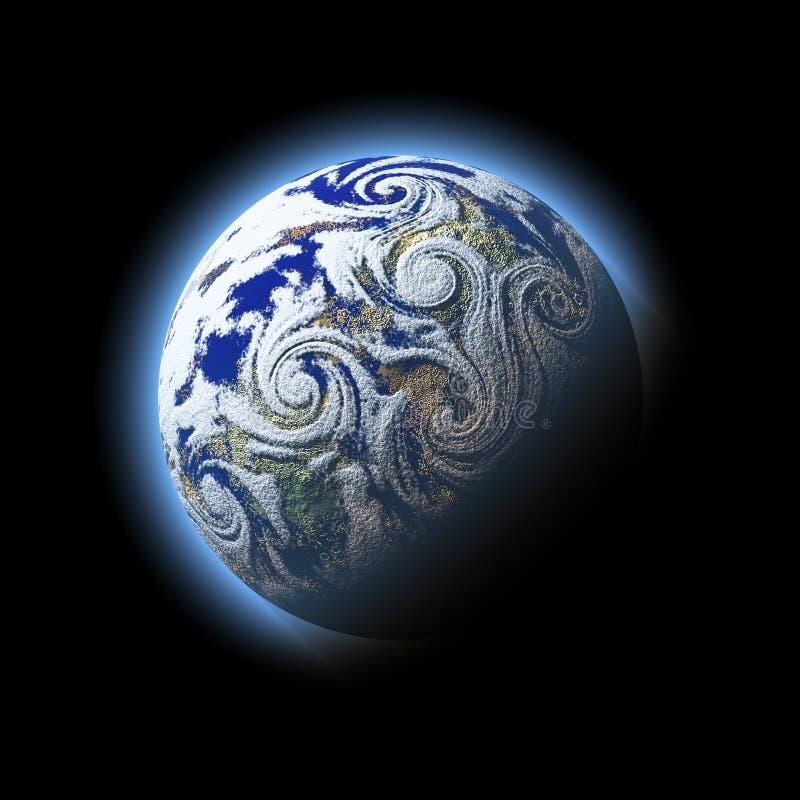 Segment de mémoire abstrait d'ouragan de vent au-dessus de planète bleue avec l'atmosphère, illustration stock
