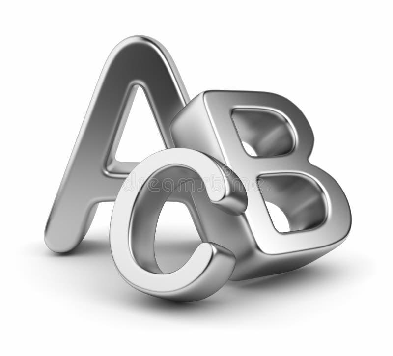 Segment de mémoire de symboles d'alphabet. Graphisme 3D. Éducation illustration de vecteur