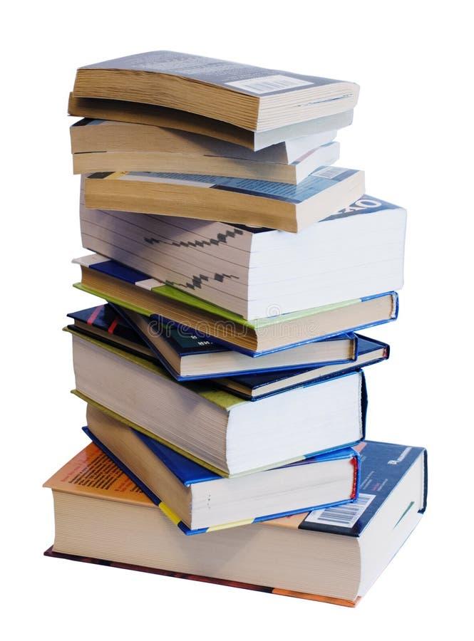 Segment de mémoire vertical des livres colorés d'isolement sur le blanc photographie stock libre de droits