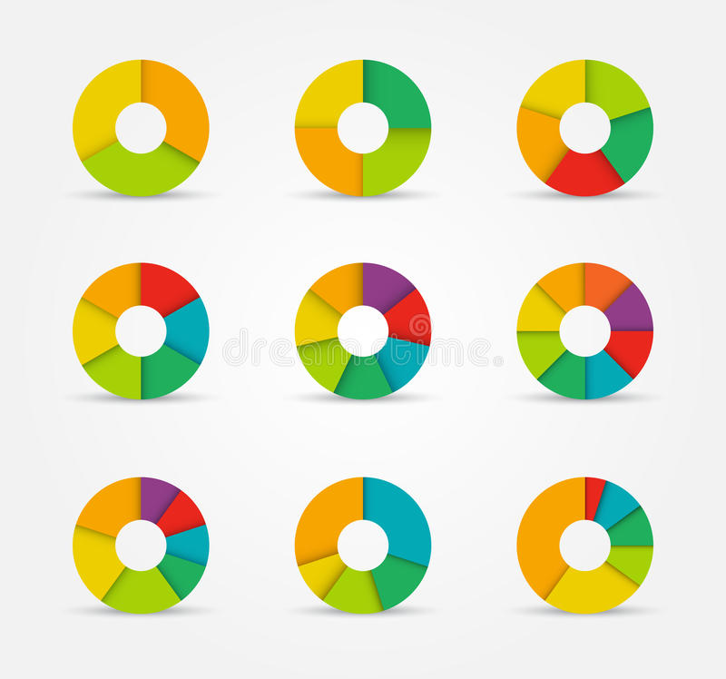 Segmented pie charts set from 3 to 8 divisions. vector illustration