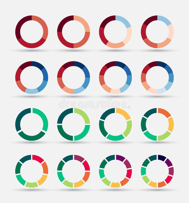 Segmenterad och mångfärgad cirkeldiagramuppsättning stock illustrationer