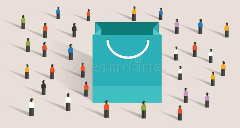 Segmentering för marknadsföring för köp för gåva för köp för pappers- påse för folkmassashoppingförsäljning vektor illustrationer