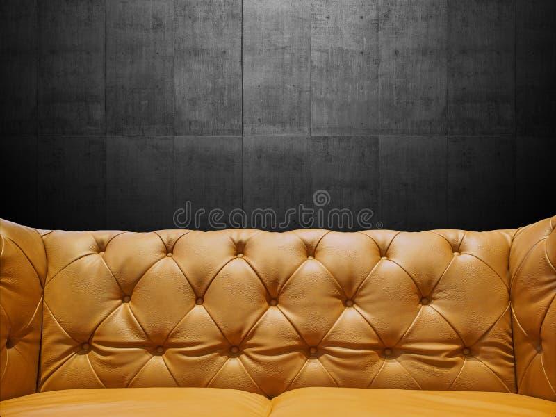 Segmentläder Sofa Upholstery With Copyspace arkivfoto