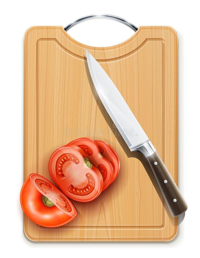 Segmento cuted tomate com a faca no cartão duro ilustração do vetor