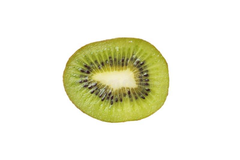 Segmentos cortados do fruto de quivi isolados no entalhe branco do fundo fotografia de stock royalty free