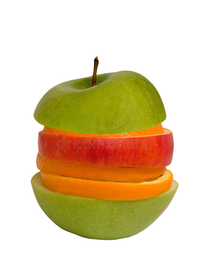 Segmentos das maçãs e das laranjas fotografia de stock