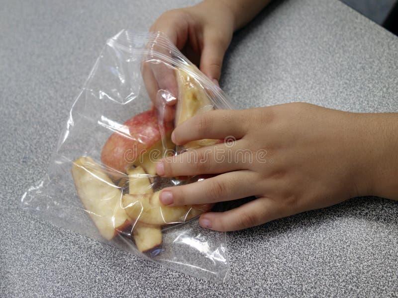 Segmentos de Apple en un bolso. foto de archivo libre de regalías