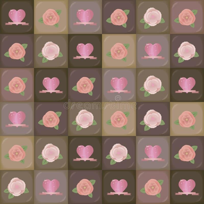 Segments carrés du chocolat des nuances différentes de la laiterie légère au brun foncé amer avec des dessins sous forme de coeur illustration libre de droits