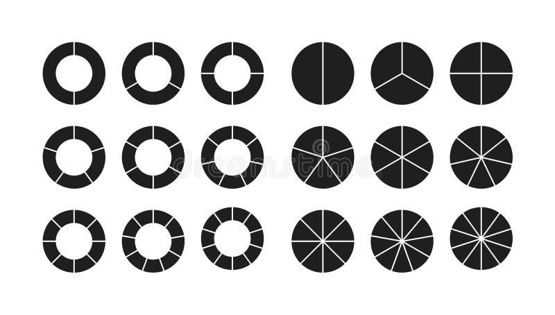 Segments de section de diagramme de cercle réglés illustration libre de droits