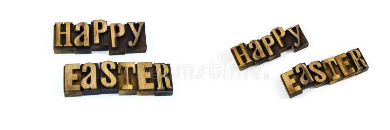 Segna lo scritto tipografico con lettere felice di festa di pasqua fotografie stock libere da diritti