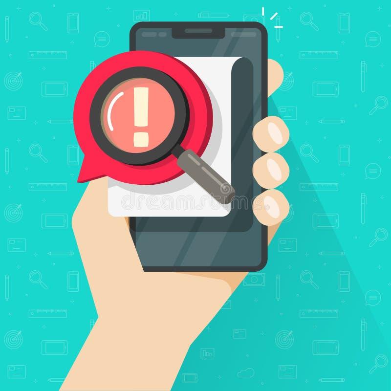 Segnalazione di rischio o avviso di avvertenza sul documento o sul commento importante sul contenuto dei dati sul cellulare o sul royalty illustrazione gratis
