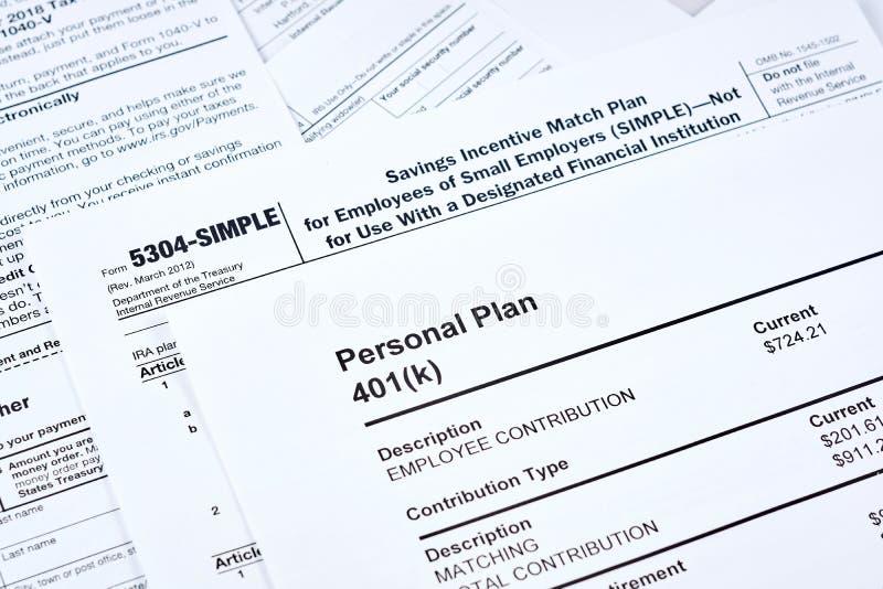 Segnalazione e piano pensionistico di imposta fotografia stock