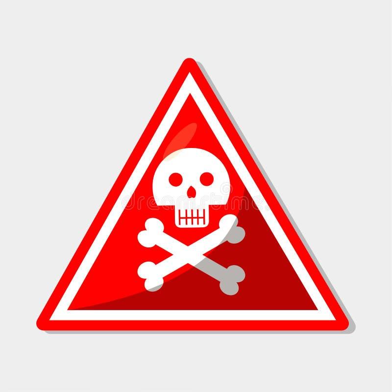 Segnale cranio per l'illustrazione del simbolo di avviso di pericolo illustrazione di stock