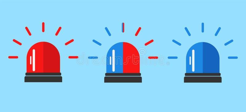 Segnale di allarme infiammante Logo rosso e blu dell'ambulanza o della polizia del lampeggiatore della sirena Stile piano Icona a fotografie stock libere da diritti