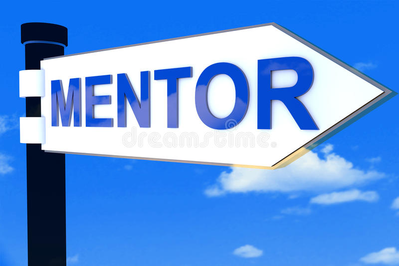 Segnale di direzione della strada del mentore fotografie stock