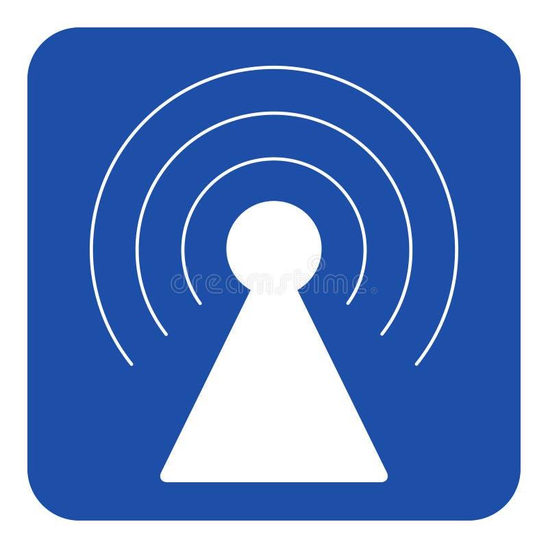 Segnale di informazione blu e bianco - torre del trasmettitore royalty illustrazione gratis