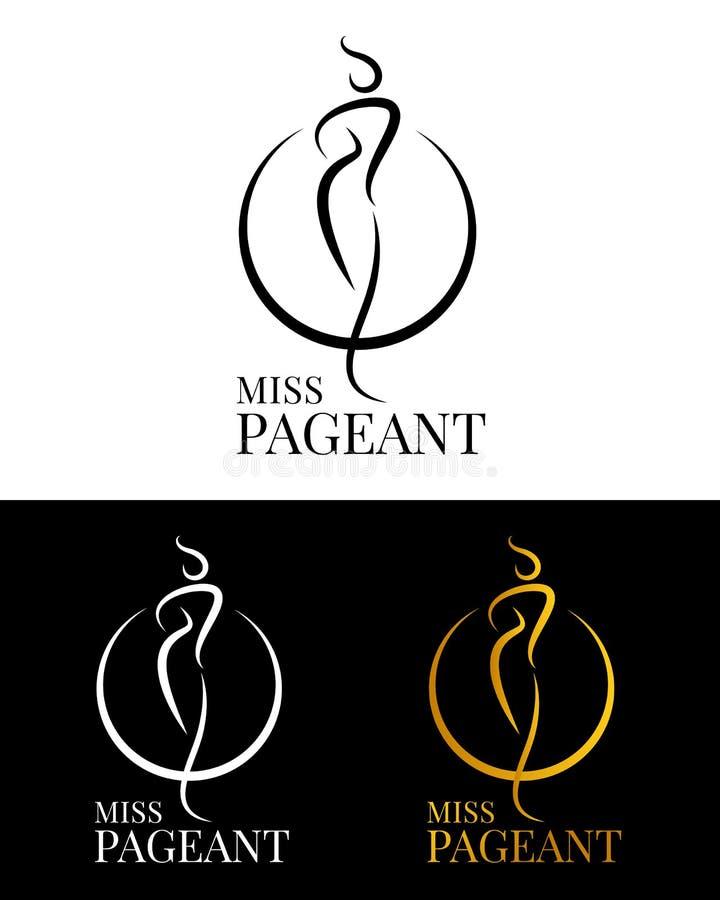 Segnale di logo di mancato concorso con linea astratta femminile e progettazione vettore anello di cerchio royalty illustrazione gratis