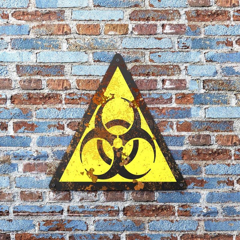 Segnale di pericolo che indica la presenza di rischi biologici, rischi biologici Virus e batteri royalty illustrazione gratis