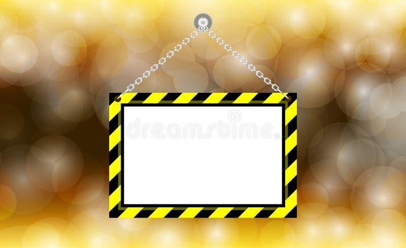 Segnale di pericolo d'attaccatura dello spazio in bianco sul fondo dell'oro del bokeh, porta-etichette d'attaccatura del modello  illustrazione di stock