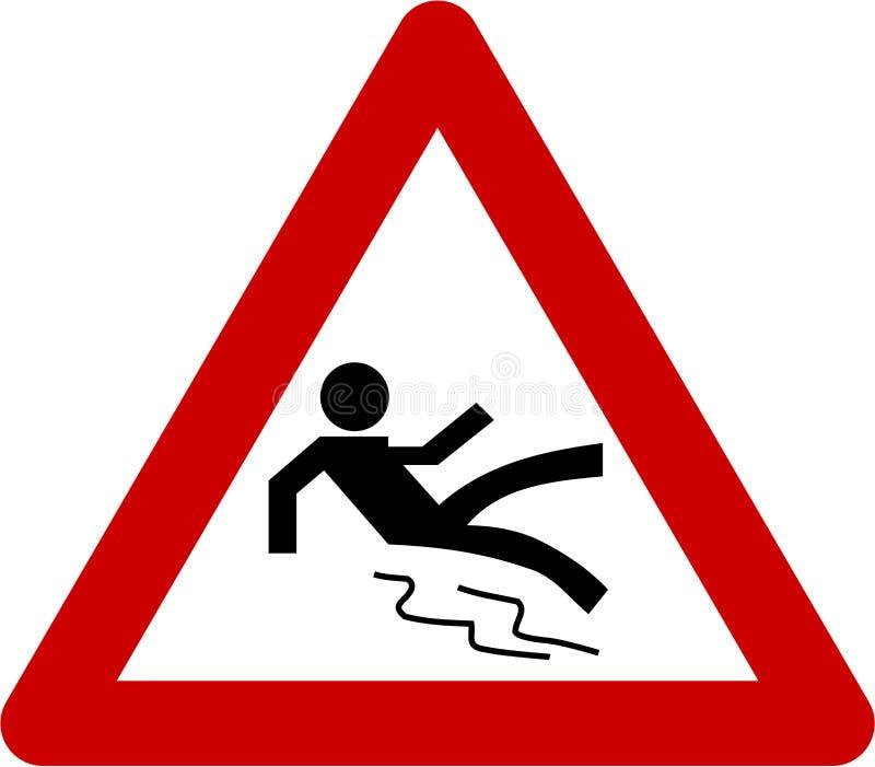 Segnale di pericolo del pavimento bagnato illustrazione vettoriale