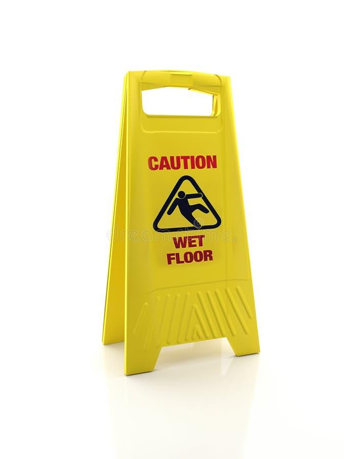 Segnale di pericolo del pavimento bagnato fotografie stock libere da diritti