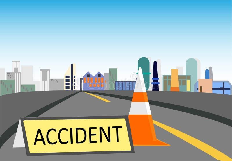 Segnale di pericolo pericoloso sulla strada e sul cono royalty illustrazione gratis