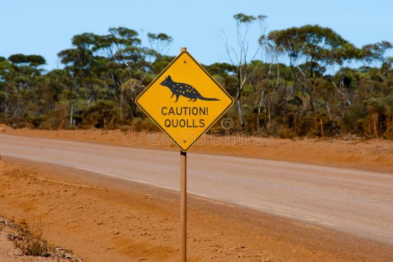 Segnale di pericolo di Quolls fotografia stock
