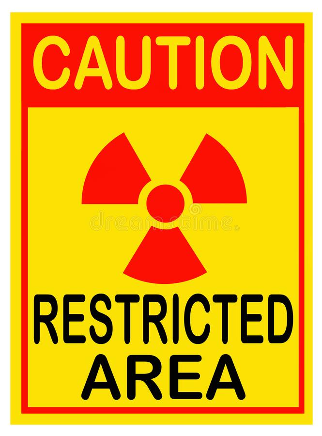 Segnale di pericolo di radiazione Zona limitata fotografia stock
