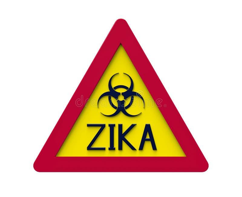 Segnale di rischio biologico di Zika, rappresentazione 3d illustrazione di stock