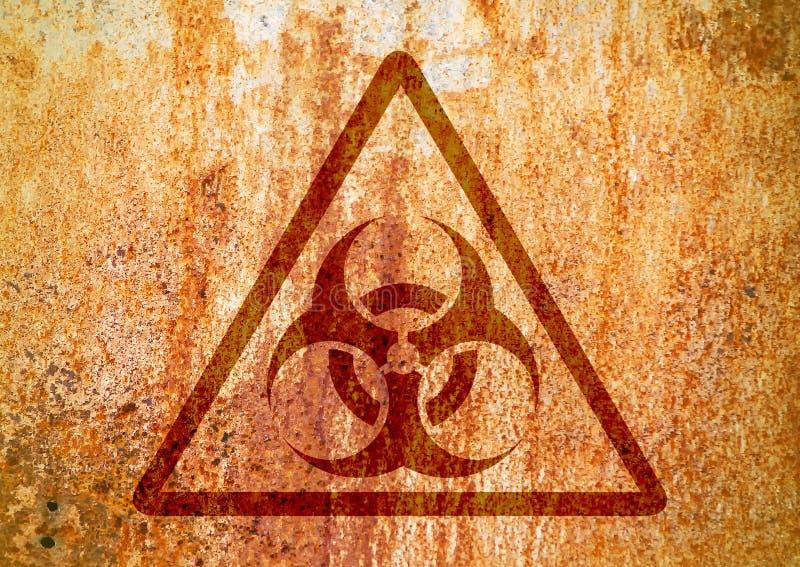 Segnale di rischio biologico sulla parete grungy della vecchia ruggine Simbolo di rischio biologico di lerciume illustrazione di stock