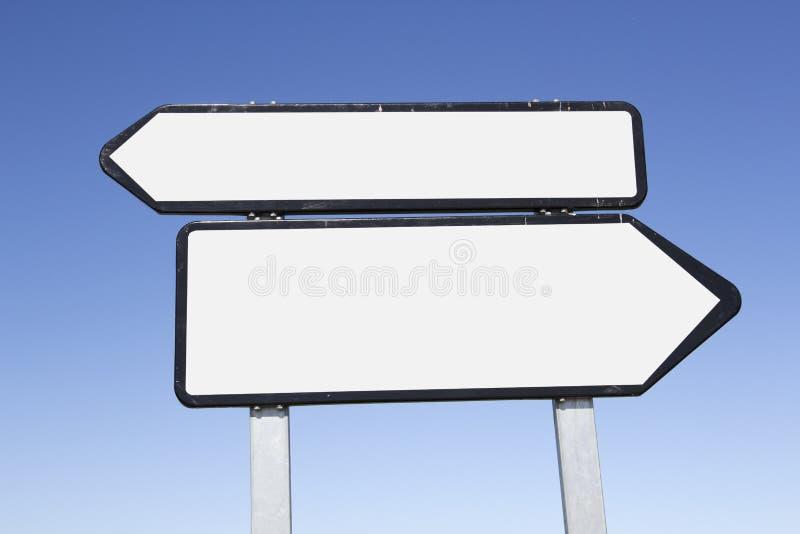 Segnale stradale in bianco immagine stock