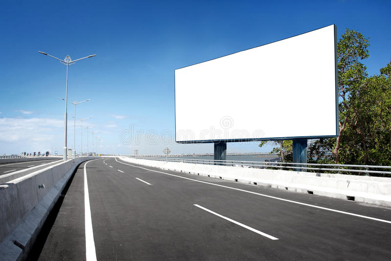Segnale stradale in bianco o del tabellone per le affissioni immagini stock libere da diritti