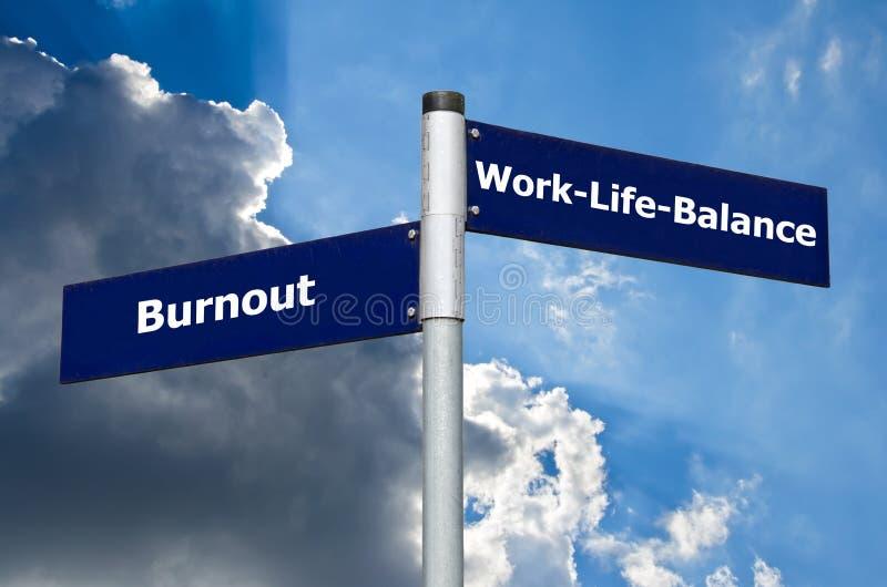 """Segnale stradale che simbolizza scelta fra """"burnout """"e """"lavoro-vita-equilibrio """" fotografia stock libera da diritti"""