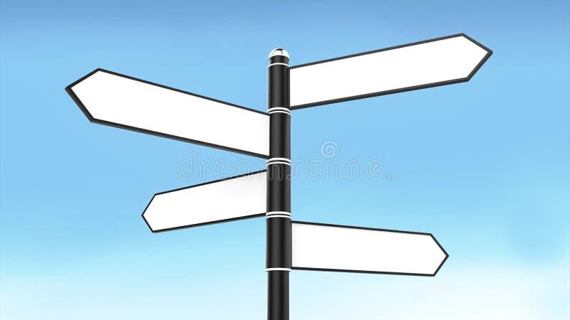 Segnale stradale con la freccia in bianco quattro per il fondo del cielo blu e del testo illustrazione di stock