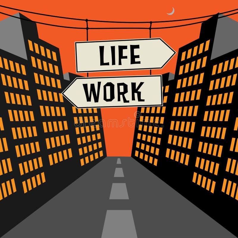 Segnale stradale con le frecce opposte ed il lavoro vita del testo illustrazione di stock