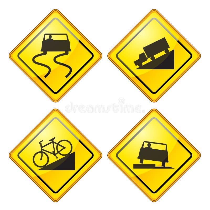 Segnale stradale d'avvertimento lucido illustrazione vettoriale