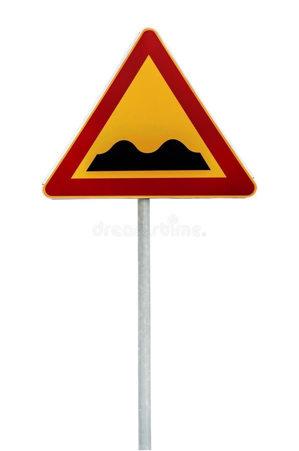 Segnale stradale d'avvertimento triangolare rosso e giallo con un avvertimento di una strada irregolare avanti immagini stock