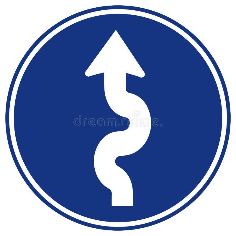 Segnale stradale d'avvolgimento di traffico, illustrazione di vettore, isolato sull'icona bianca del fondo EPS10 illustrazione vettoriale
