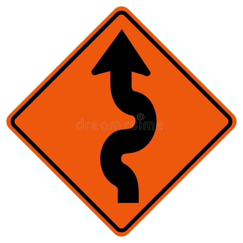 Segnale stradale d'avvolgimento di traffico, illustrazione di vettore, isolato sull'icona bianca del fondo EPS10 royalty illustrazione gratis