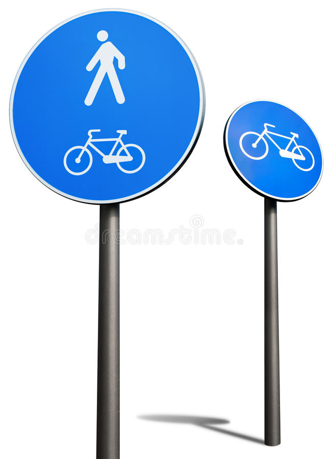 Segnale stradale dei pedoni e delle biciclette fotografia stock