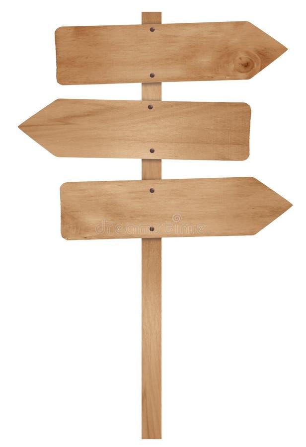 Segnale stradale della freccia di legno immagine stock
