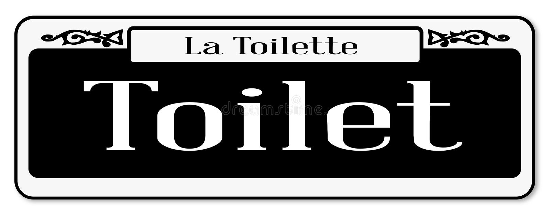 Segnale stradale della toilette di stile di New Orleans isolato illustrazione di stock