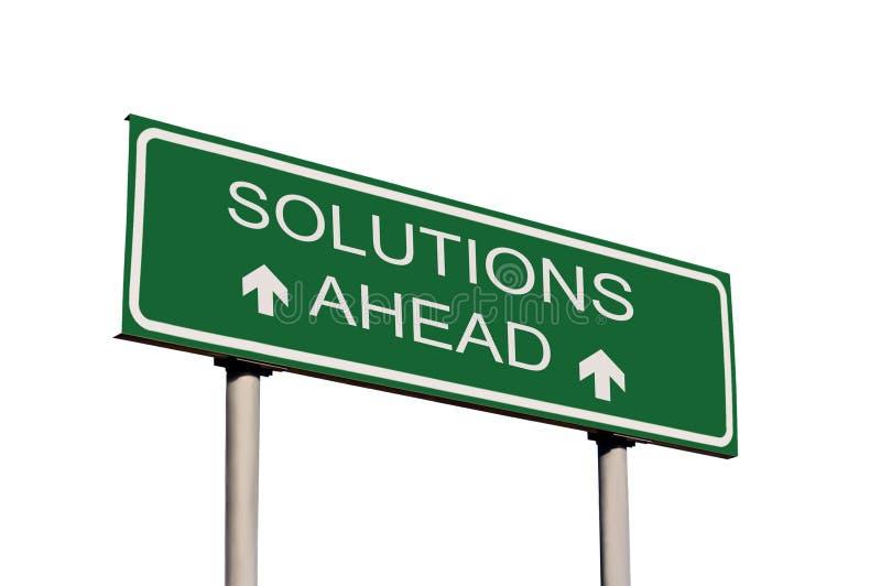 Segnale stradale delle soluzioni avanti isolato illustrazione di stock